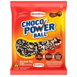 CHOCO POWER BALL 80G MICRO AO LEITE E BRANCO MAVALERIO