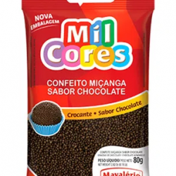 CONFEITO MIÇANGA DE BRIGADEIRO CROCANTE REDONDO 80G MAVALERIO