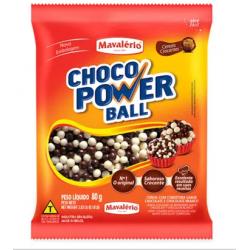 CHOCO POWER BALL 80G MINI AO LEITE E BRANCO MAVALERIO